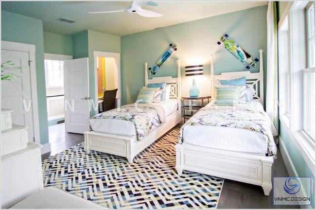 Thiết kế nội thất phòng ngủ cho bé với tone màu xanh mới mẻ