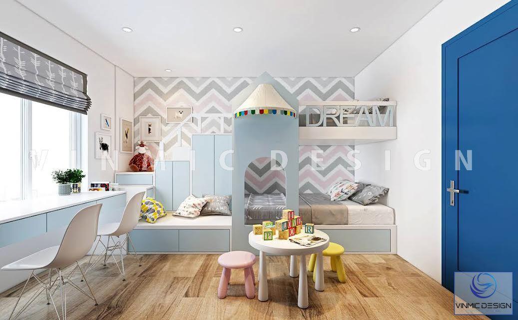 Thiết kế nội thất phòng ngủ cho bé sinh đôi với không gian vui chơi rộng cho con được chơi thật nhiều, ngủ thật ngon
