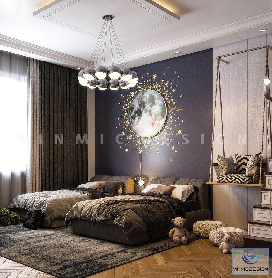 Thiết kế nội thất phòng ngủ dễ thương tại căn phòng ngủ cho 2 bé nhà chị Hà
