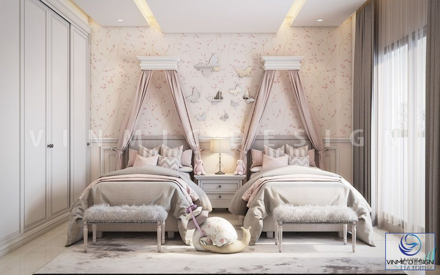Thiết kế nội thất phòng ngủ cho 2 nàng công chúa nhà chị Trang