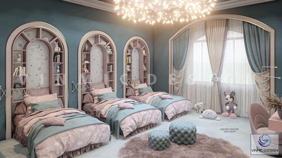 Thiết kế nội thất phòng ngủ cho 3 bé theo phong cách tân cổ điển, hợp với nội thất tổng thể căn nhà anh Nghĩa