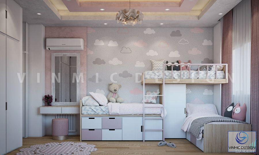 Thiết kế nội thất phòng ngủ cho bé sinh đôi với đồ nội thất đáng yêu
