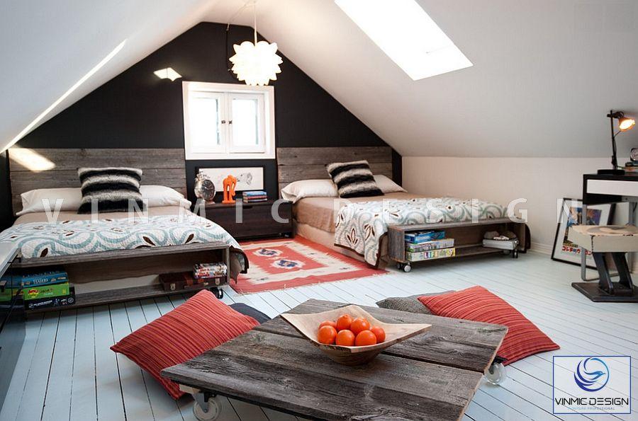 Thiết kế nội thất phòng ngủ đẹp cho bé sinh đôi với căn nhà phong cách scandinavian