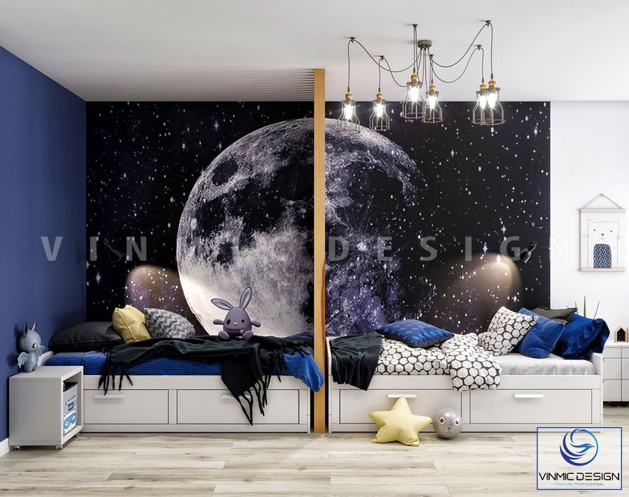 Thiết kế phòng ngủ đẹp cho căn phòng 2 bé nhà chị Nga