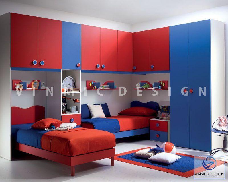 Thiết kế nội thất phòng ngủ tone màu siêu nhân cho 2 bé trai nhà anh Hải