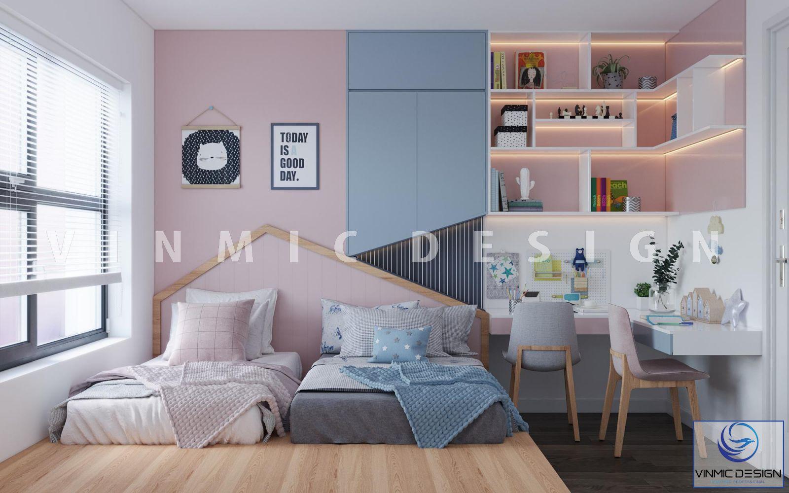 Thiết kế nội thất phòng ngủ cho bé sinh đôi tại căn hộ chung cư D' Capitale