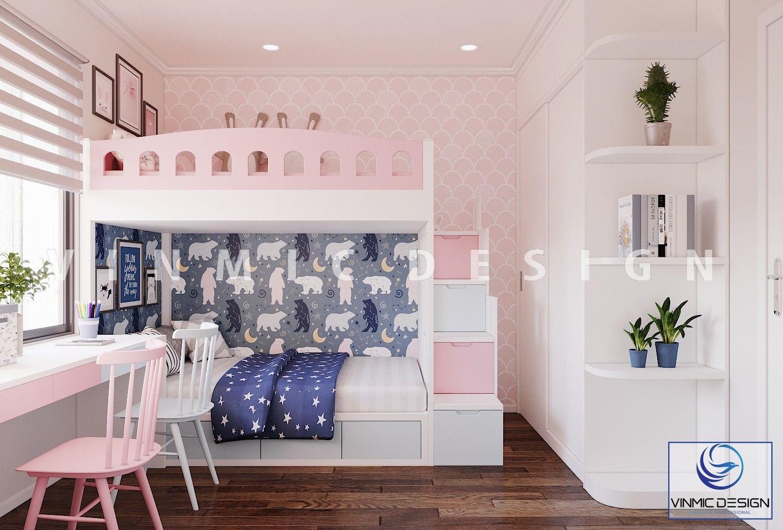 Thiết kế nội thất phòng ngủ với giường tầng tone màu hồng dễ thương