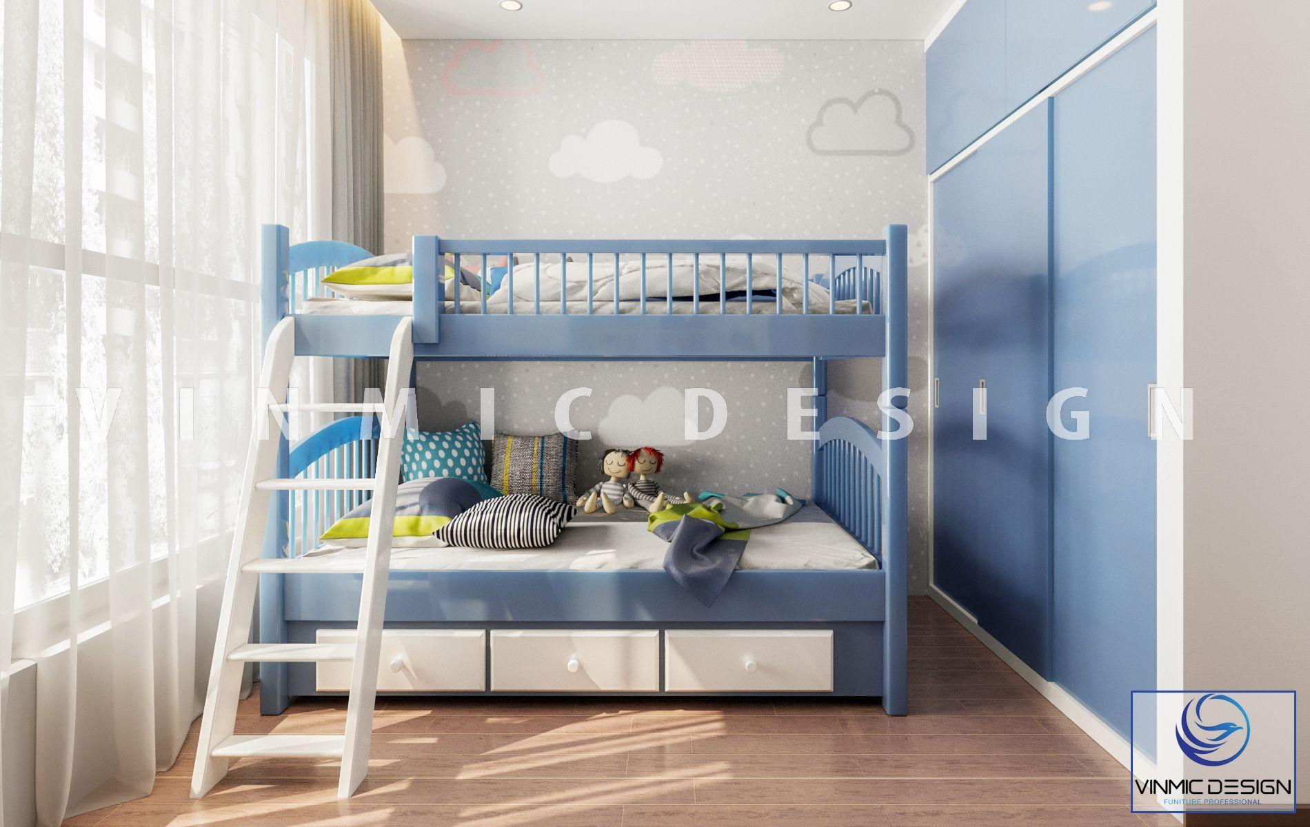 Thiết kế nội thất phòng ngủ cho bé sinh đôi cho căn phòng có diện tích khiêm tốn