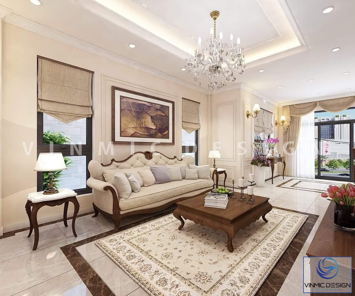 Thiết kế nội thất phòng khách tân cổ điển đẹp cho căn biệt thự tại Vinhomes Thanh Hóa