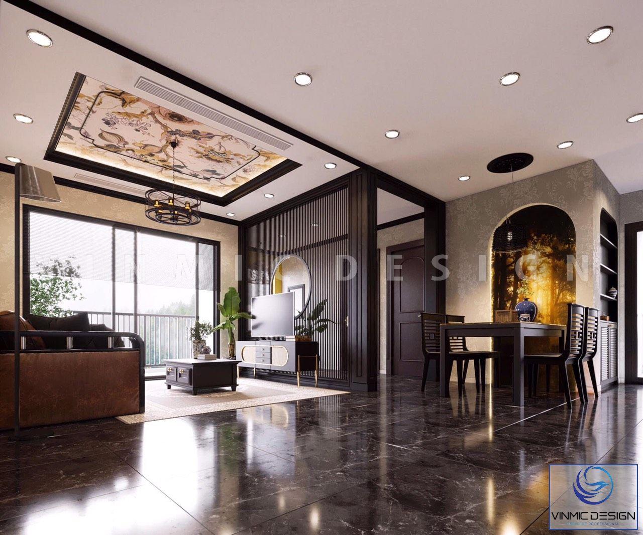 Thiết kế nội thất phòng khách phong cách Á Đông tại căn hộ của cô Hương