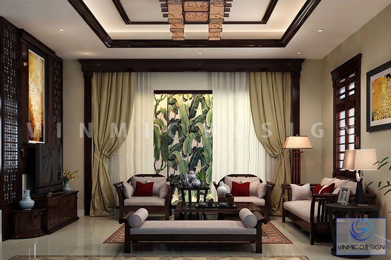 Thiết kế nội thất phong cách Á Đông đẹp cho phòng khách
