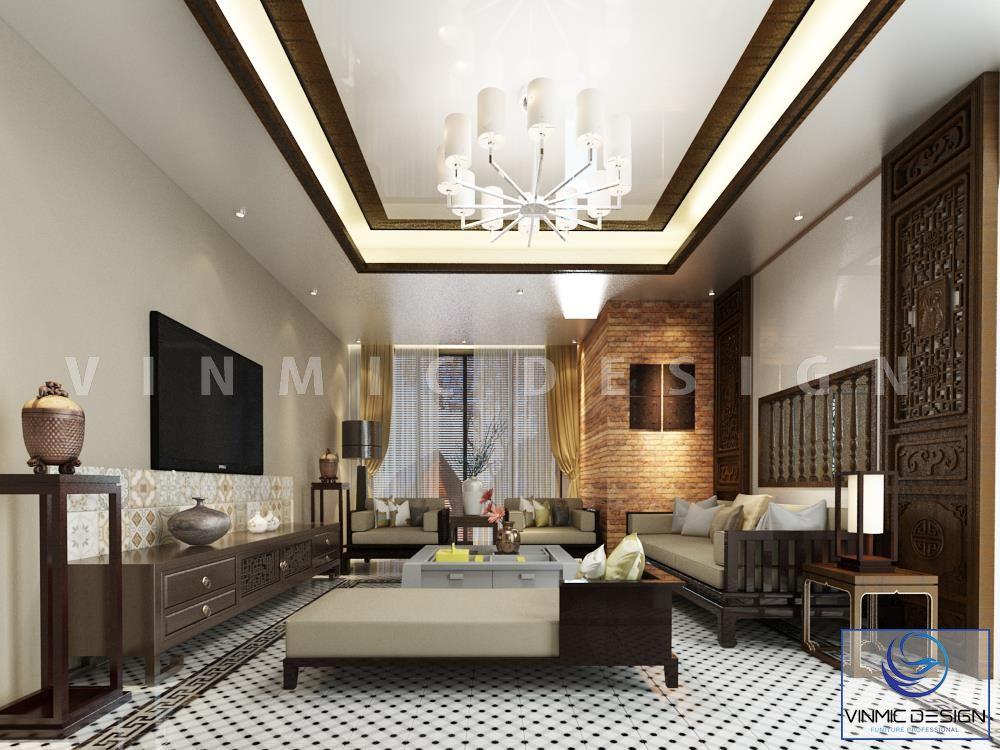 Thiết kế nội thất phòng khách phong cách Á Đông cho nhà phố Hà Đông - Hà Nội