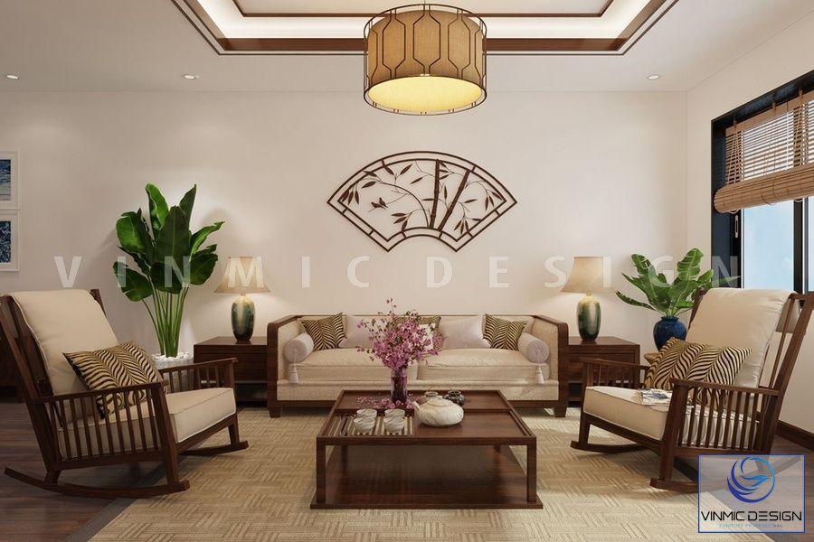 Thiết kế nội thất phòng khách đẹp phong cách Á Đông đẹp