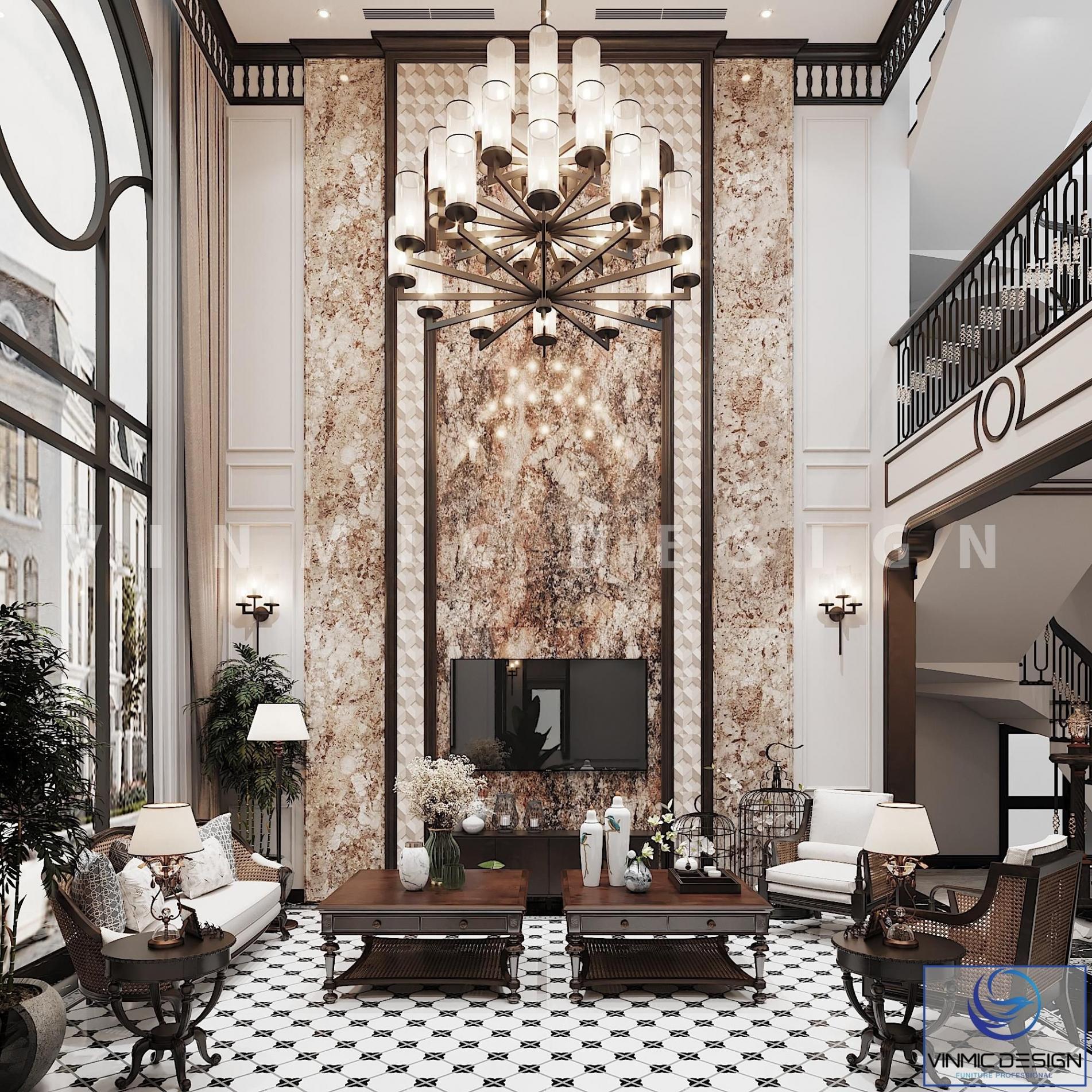 Thiết kế nội thất phòng khách phong cách Indochine của biệt thự Vinhomes Imperia Hải Phòng