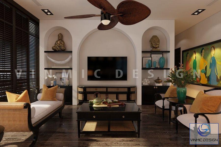 Thiết kế phòng khách đẹp cho chung cư với phong cách Indochine đẹp