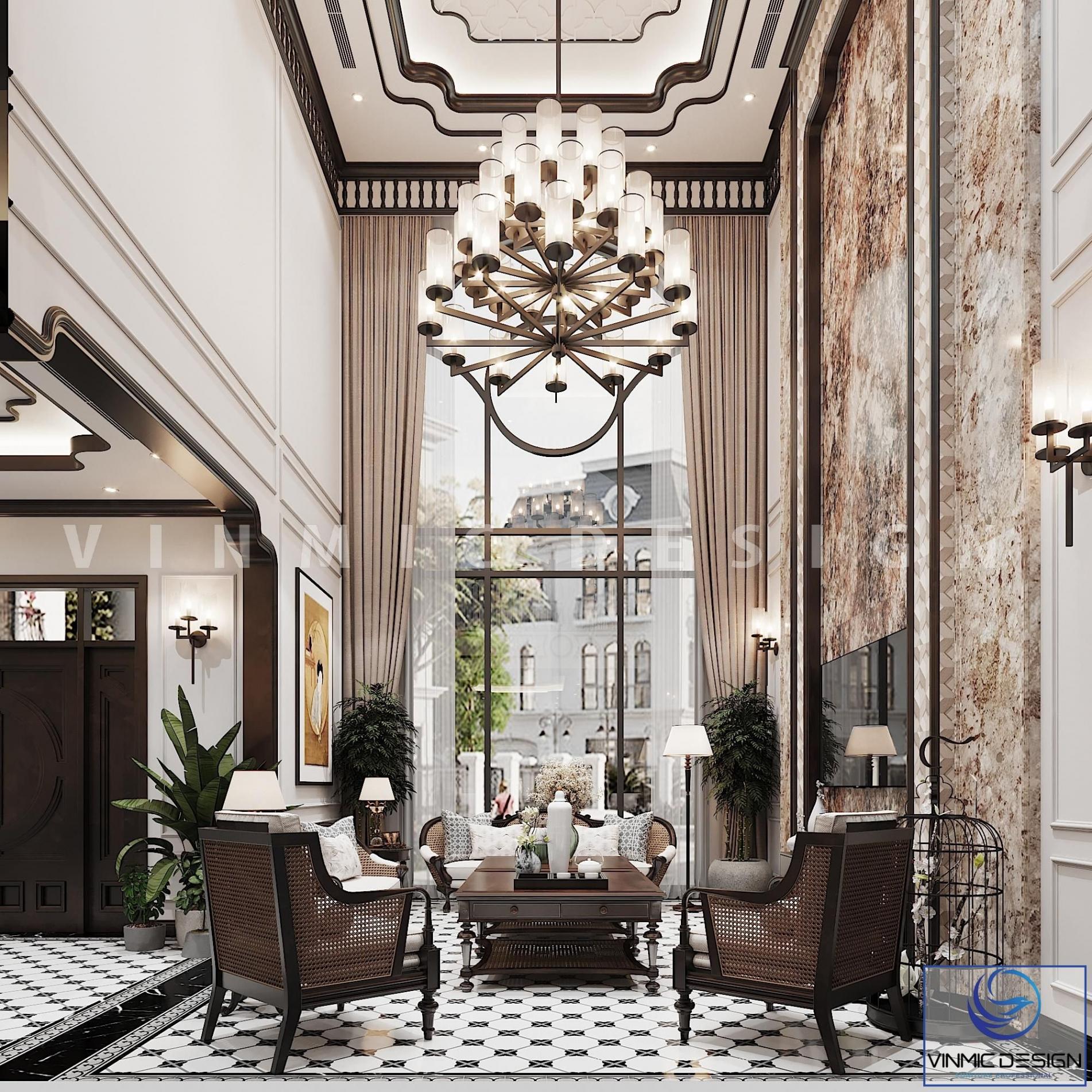 Thiết kế nội thất phòng khách phong cách Á Đông sang trọng tại biệt thự Vinhomes Imperia Hải Phòng