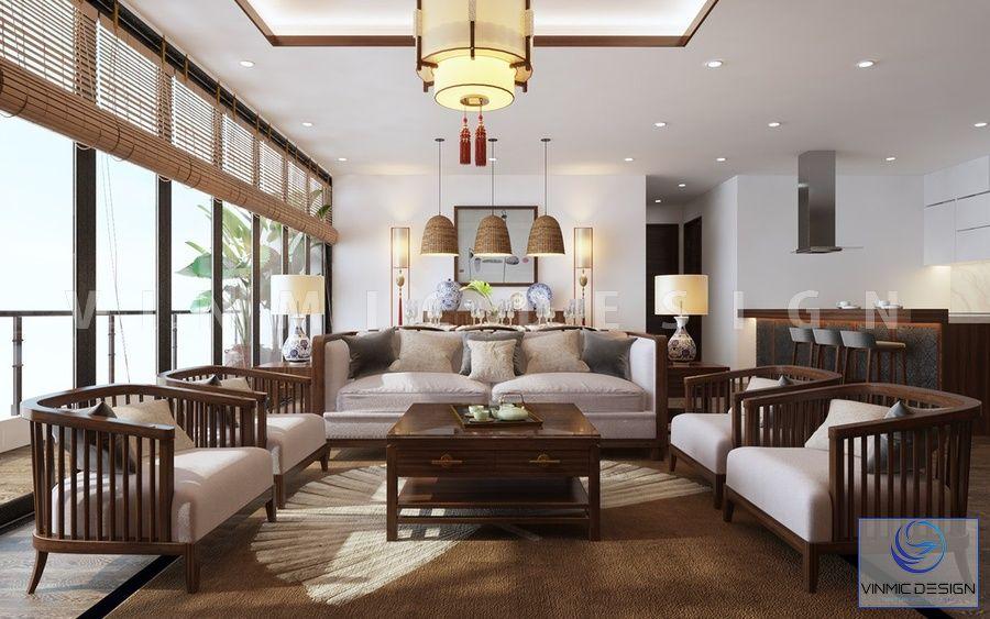 Thiết kế nội thất phòng khách đẹp phong cách Á Đông