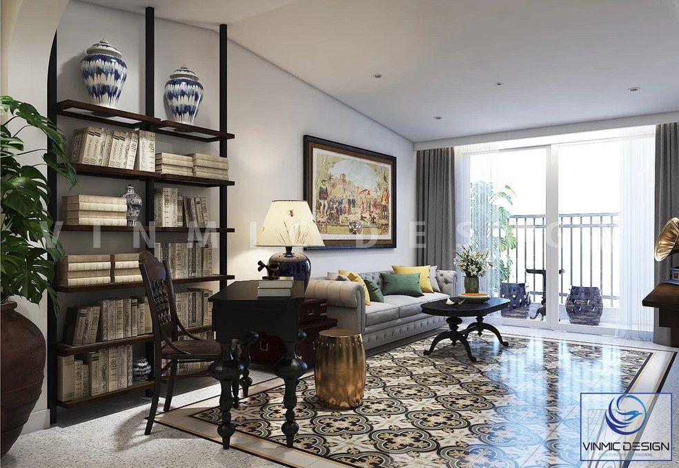 Thiết kế nội thất phòng khách phong cách Indochine sang trọng