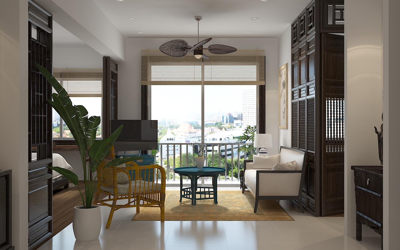 Không gian phòng khách giản đơn và thoáng mát phong cách Á Đông cho căn hộ chung cư