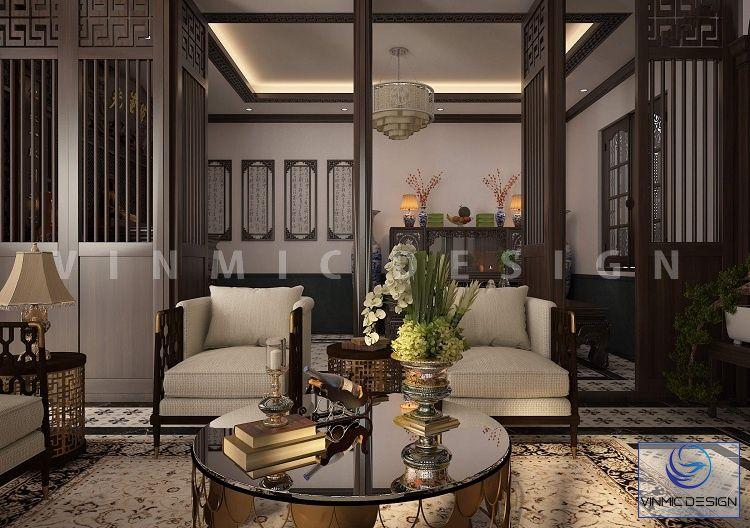 Phòng khách được thiết kế sang trọng và tinh tế với phong cách Indochine