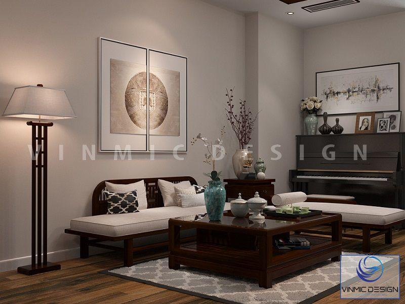Thiết kế nội thất chung cư với phòng khách sang trọng của phong cách Á Đông