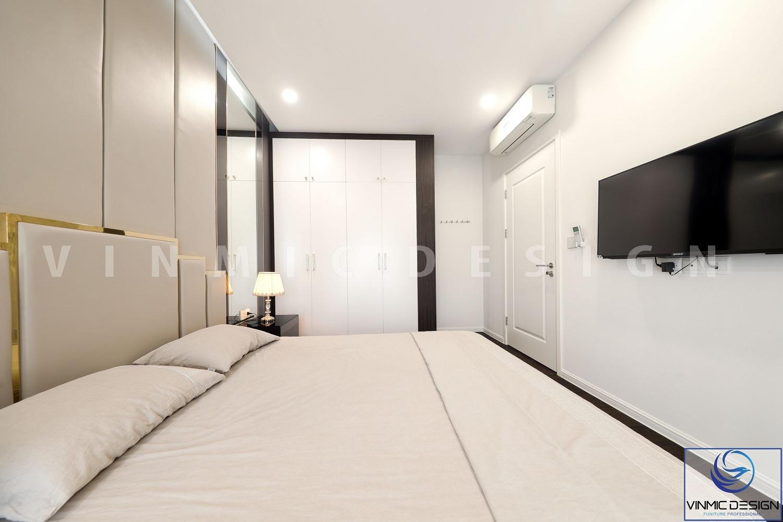 Thi công nội thất phòng ngủ với tủ quần áo chất liệu gỗ công nghiệp MDF lõi xanh tại chung cư Imperia Sky Garden