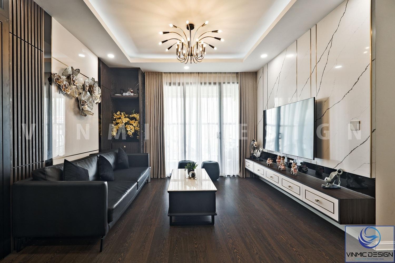 Thi công nội thất phòng khách sang trọng, ấn tượng tại căn hộ Imperia Sky Garden
