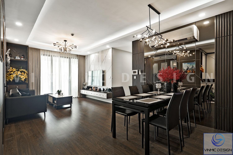 Thi công nội thất theo hướng liền mạch khách - bếp đẹp tại căn hộ Imperia Sky Garden