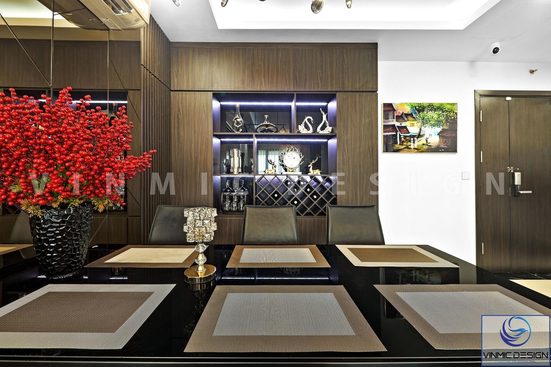 Thi công nội thất tủ rượu và trang trí đẹp mắt, chất liệu gỗ công nghiệp MDF lõi xanh tại căn hộ Imperia Sky Garden