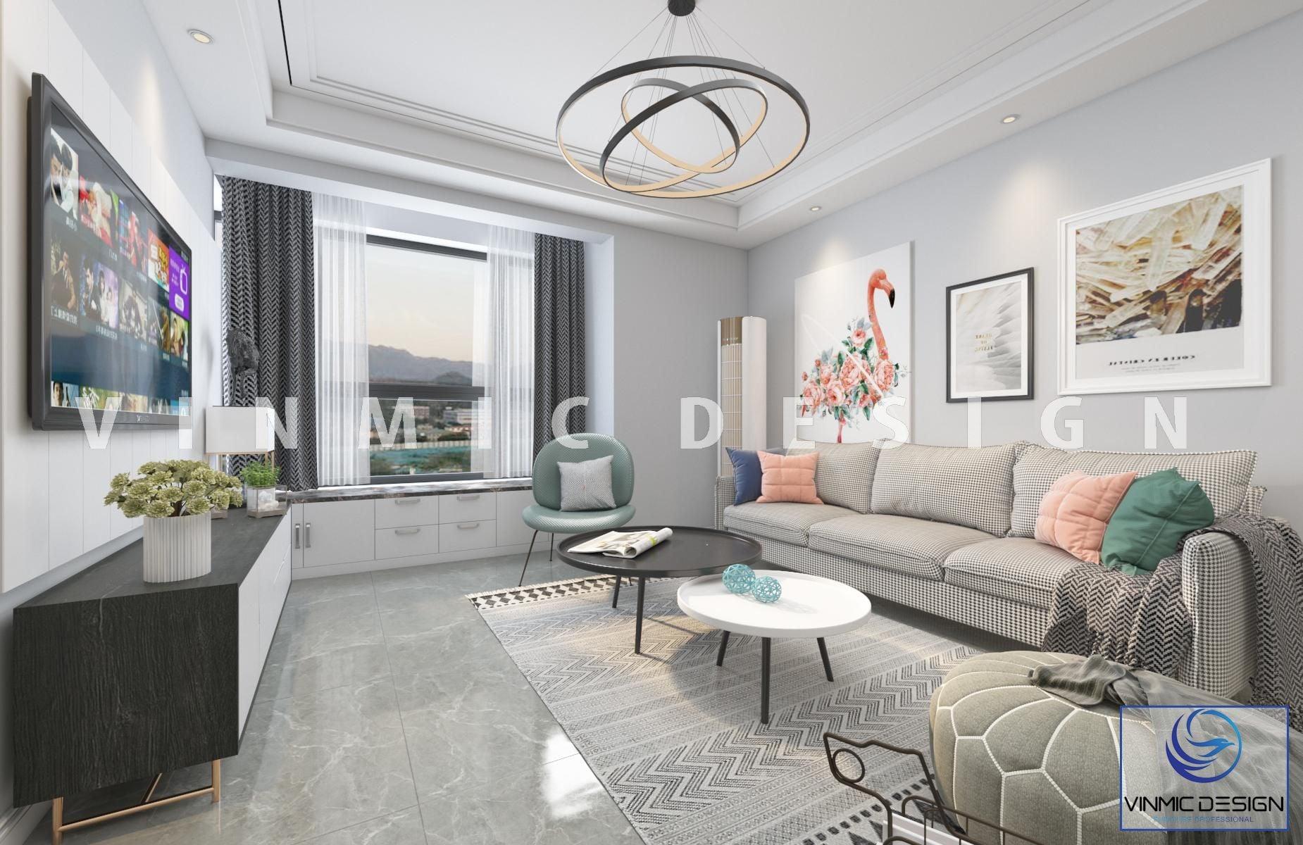 Thiết kế nội thất chung cư 90m2 có phòng khách ấn tượng với tone màu nóng và lạnh kết hợp tinh tế