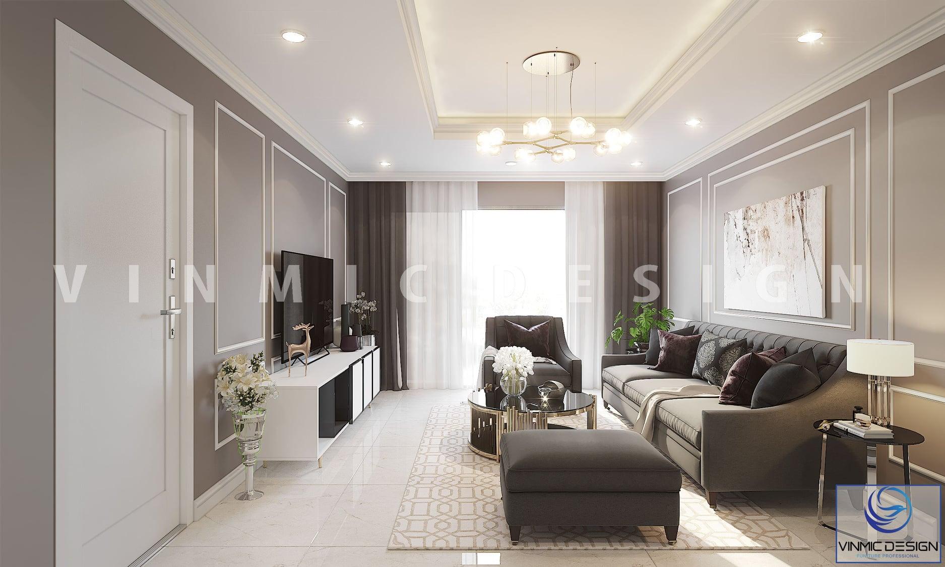 Thiết kế nội thất phòng khách sang trọng cho chung cư 90m2