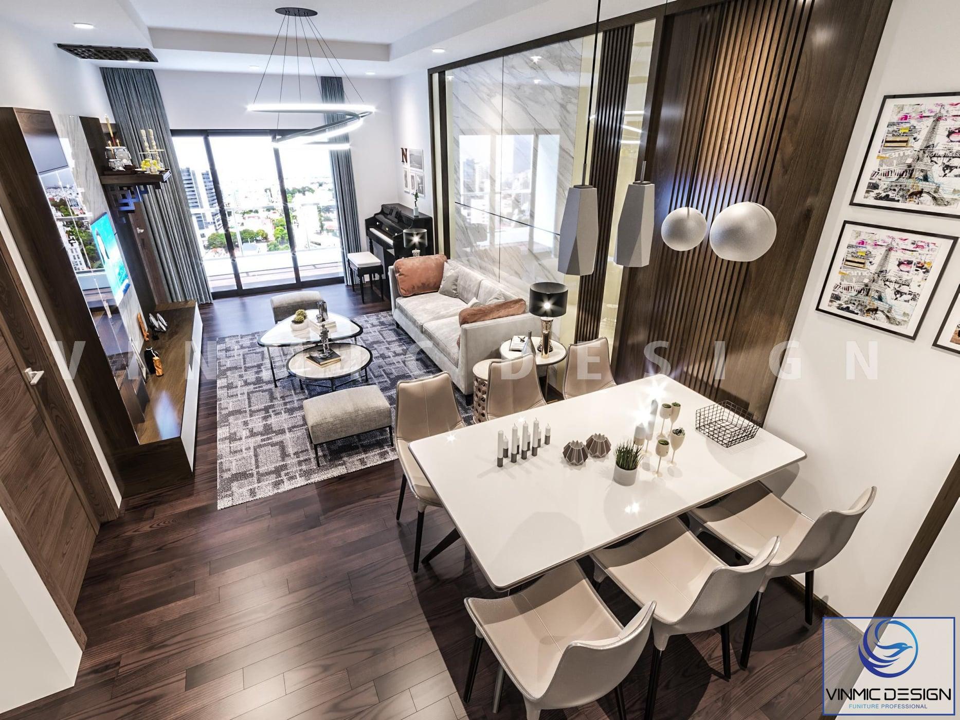 Phòng khách đẹp với thiết kế chung cư 90m2 3 phòng ngủ