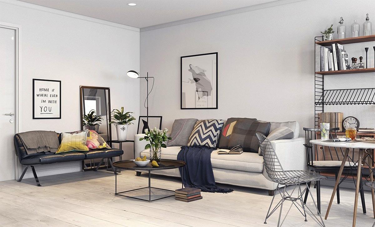 Thiết kế nội thất phòng khách đẹp phong cách Scandinavinan cho chung cư 90m2