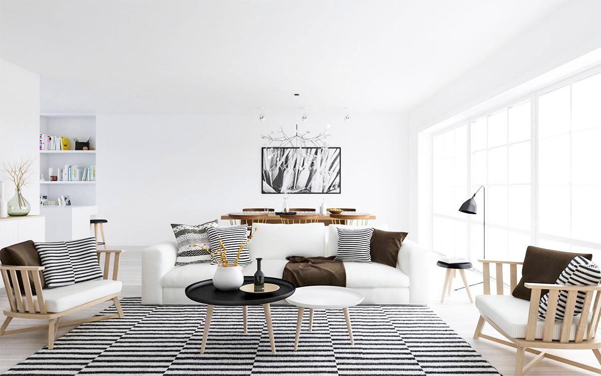 Thiết kế nội thất phòng khách đơn giản theo phong cách Scandinavian cho căn hộ 90m2