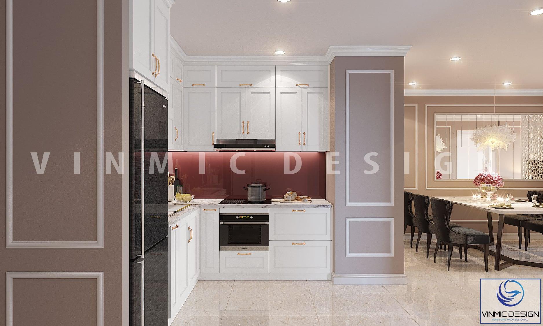 Thiết kế tủ bếp ấn tượng cho căn hộ 90m2