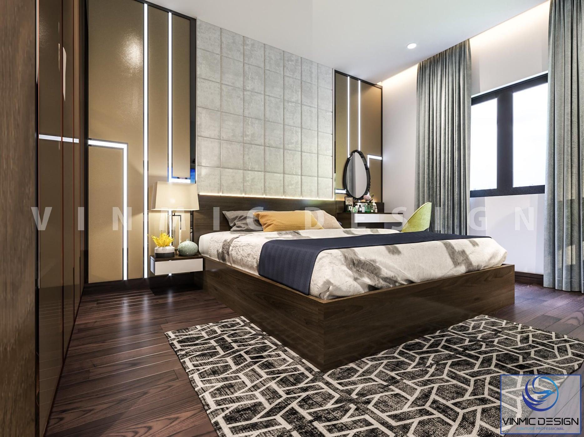 Phòng ngủ master sang trọng khi thiết kế chung cư 90m2 3 phòng ngủ
