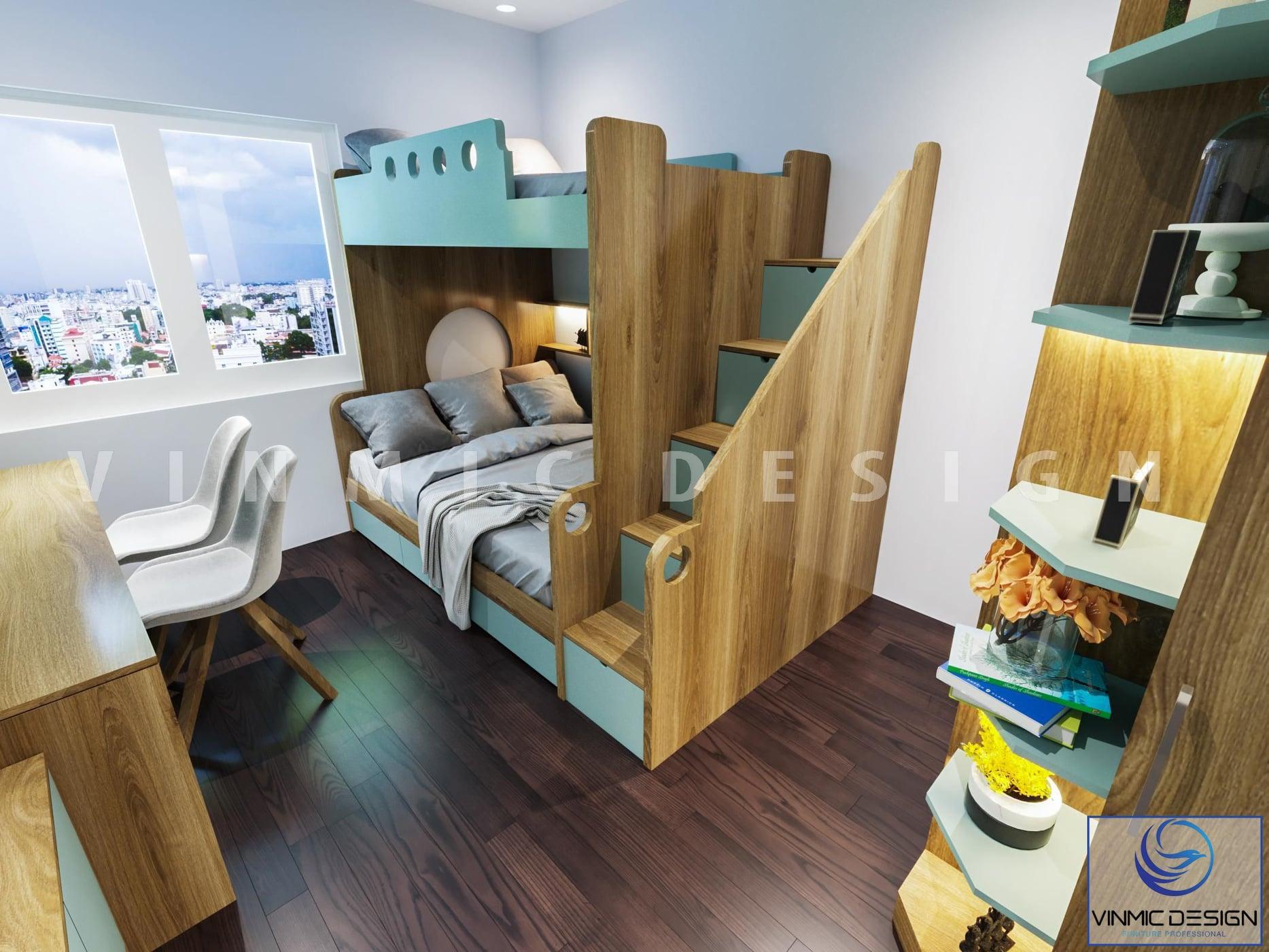 Giường đôi tiết kiệm diện tích khi thiết kế chung cư 90m2 3 phòng ngủ