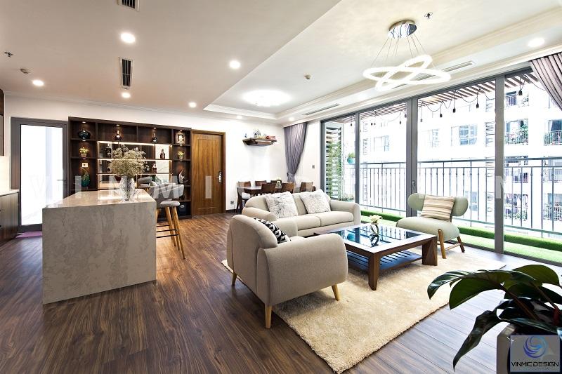 Thi công nội thất chung cư sử dụng nhiều gỗ tự nhiên kết hợp gỗ công nghiệp hiện đại