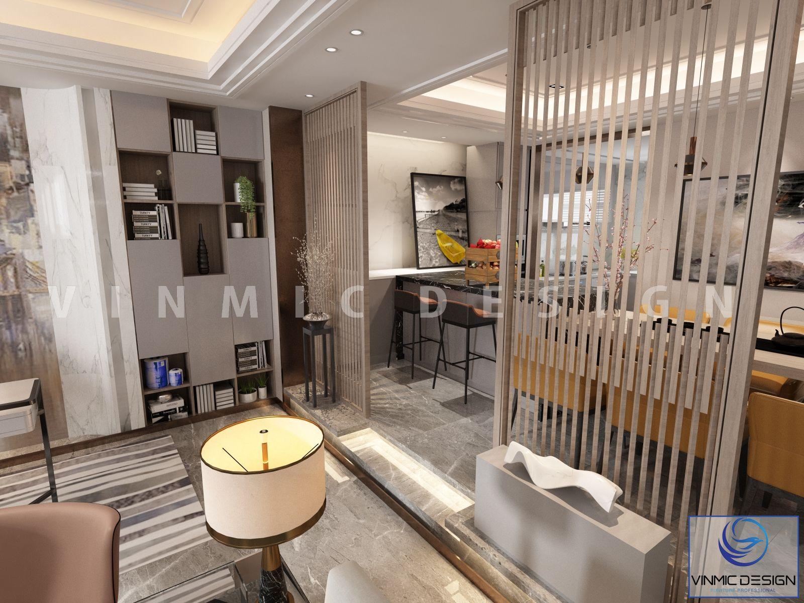 Thiết kế nội thất phòng khách và phòng bếp ngăn cách nhau bởi vách ngăn gỗ sang trọng