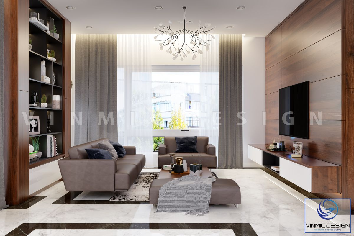 Phòng khách sang trọng trong mẫu thiết kế nhà phố 3 tầng