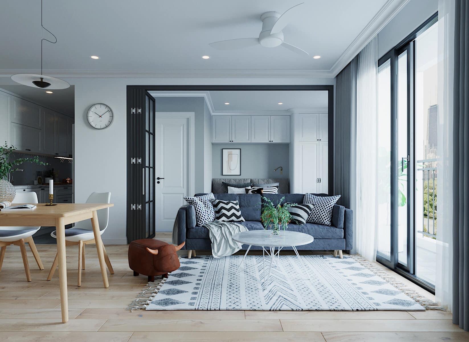 Thiết kế nội thất với các điểm nhấn màu sắc giúp căn hộ trở nên ấn tượng hơn phong cách Scandinavian