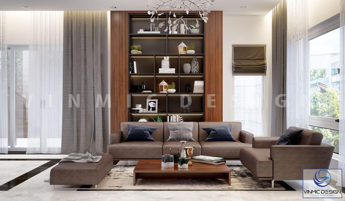 Bộ sofa da nổi bật thể hiện sự tinh tế của gia chủ trong mẫu thiết kế nhà phố 3 tầng