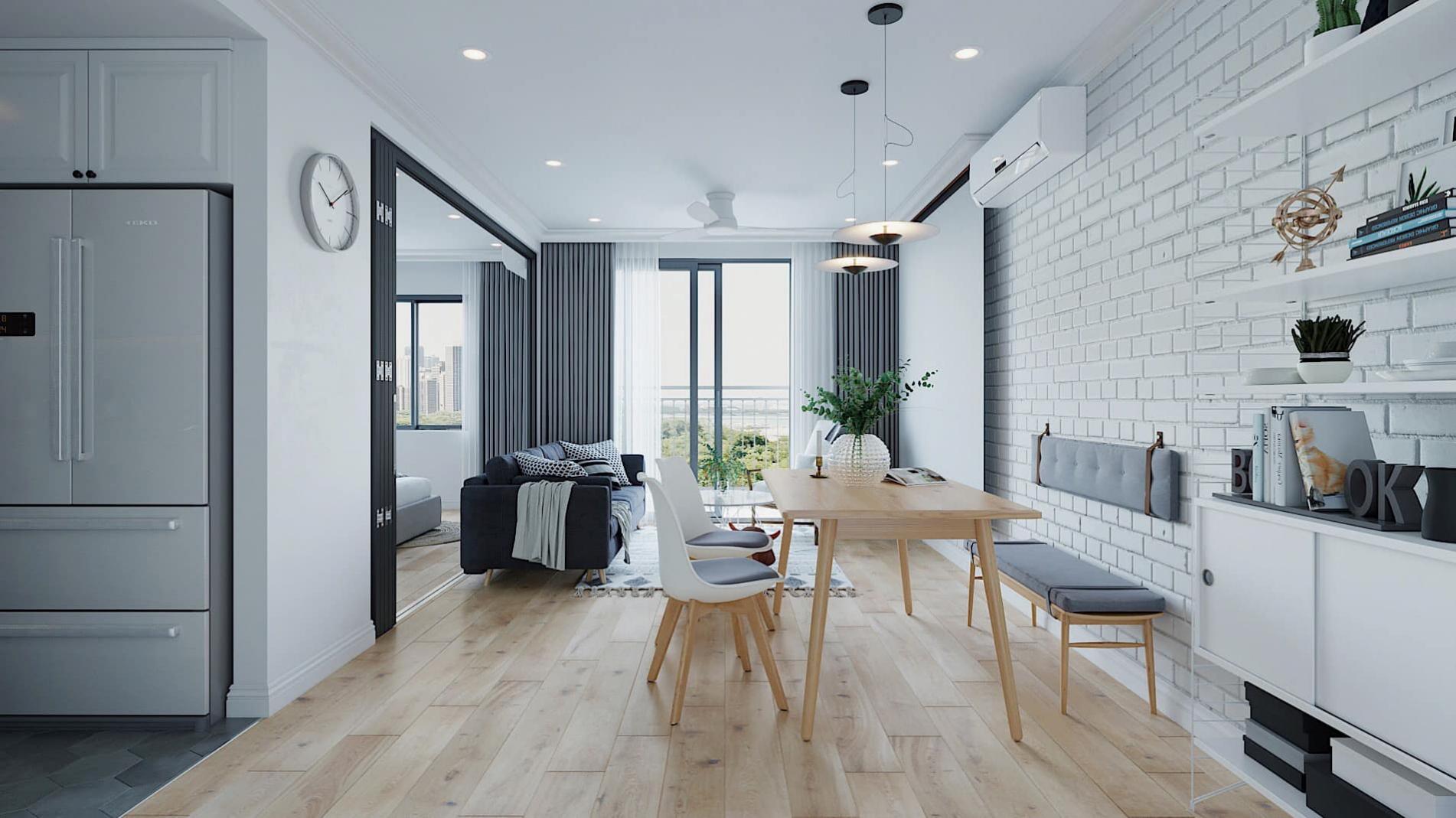 Thiết kế nội thất phòng khách nối liền không gian ăn uống, sinh hoạt chung của gia đình theo phong cách scandinavinan