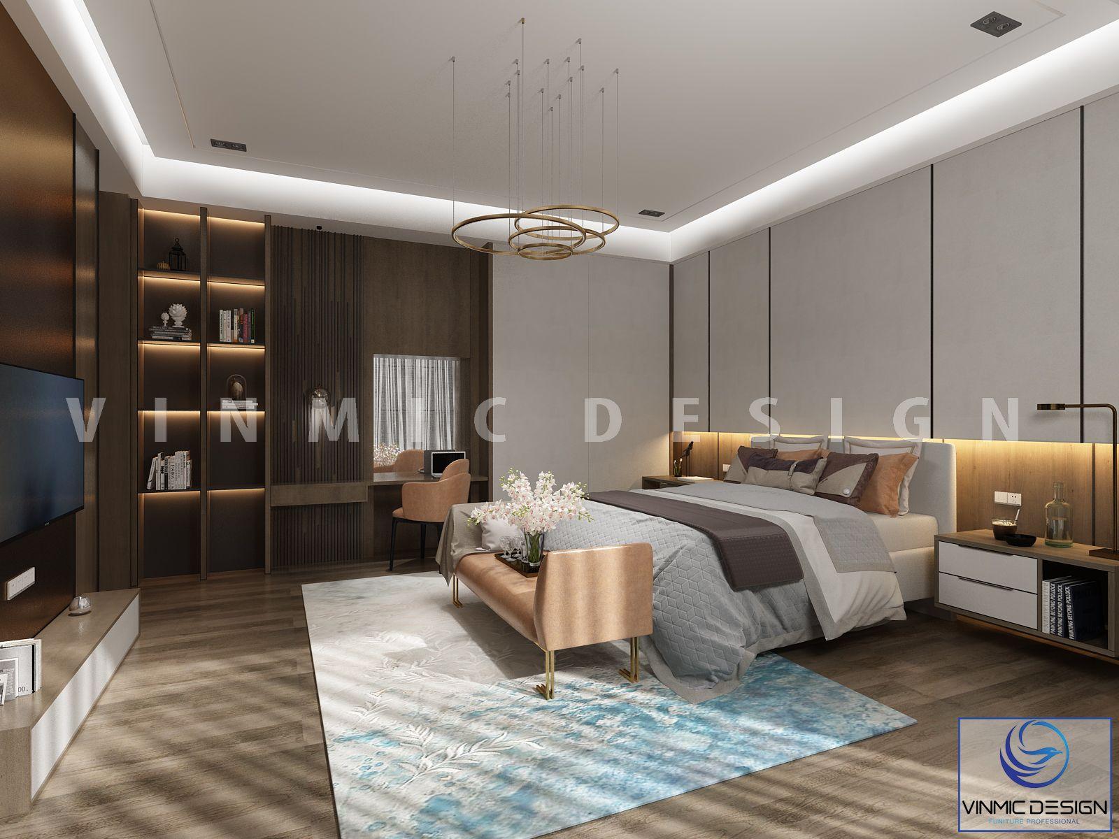 Thiết kế nội thất phòng ngủ master sang trọng, đầy đủ công năng cho mẫu thiết kế nhà phố 2 tầng tại Hải Phòng