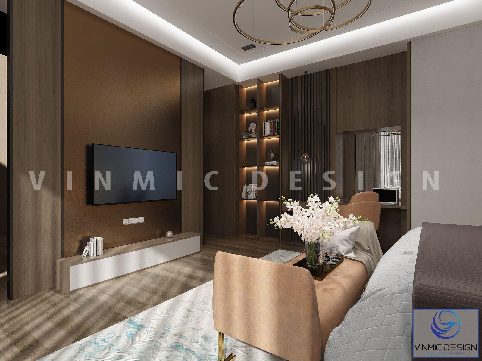Góc khác của căn phòng ngủ master với tone màu nâu nhạt sang trọng và gần gũi