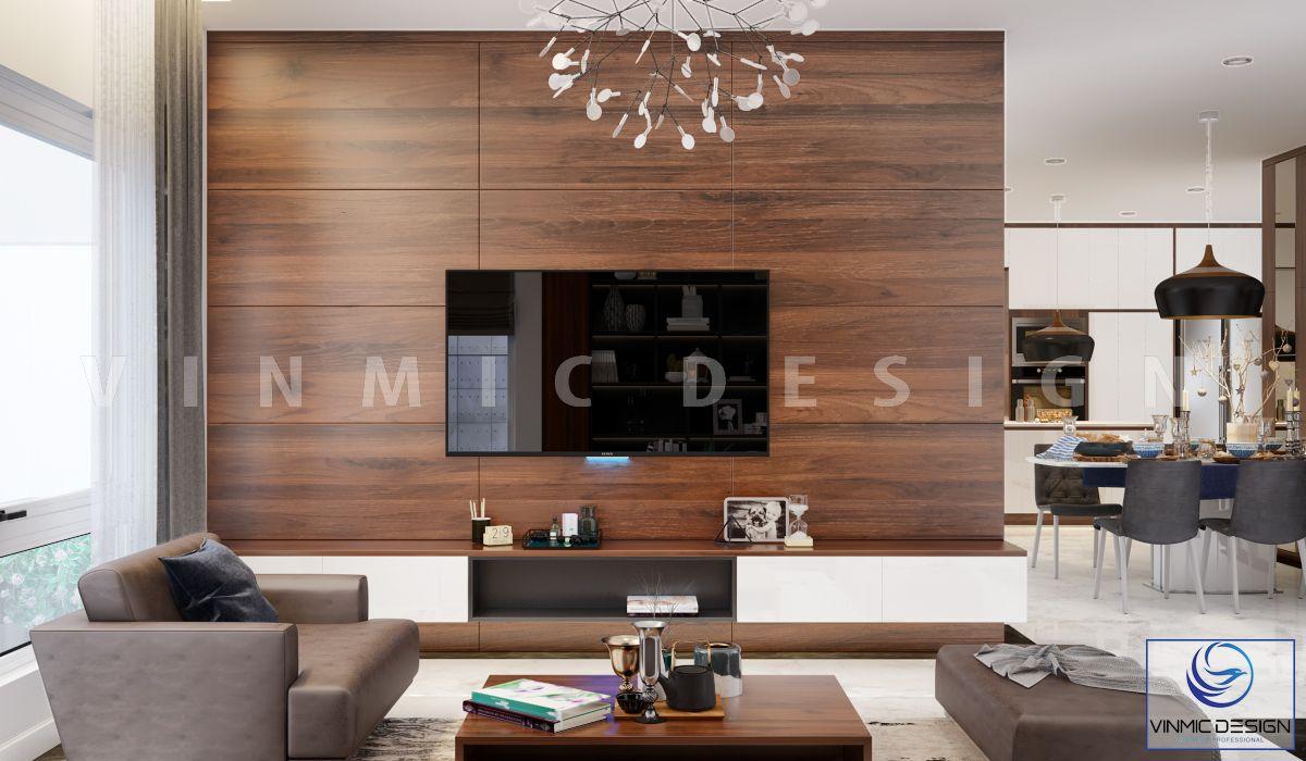Kệ tivi chất liệu gỗ công nghiệp MDF lõi xanh bề mặt Melamine vân gỗ óc chó sang trọng trong mẫu thiết kế nhà phố 3 tầng