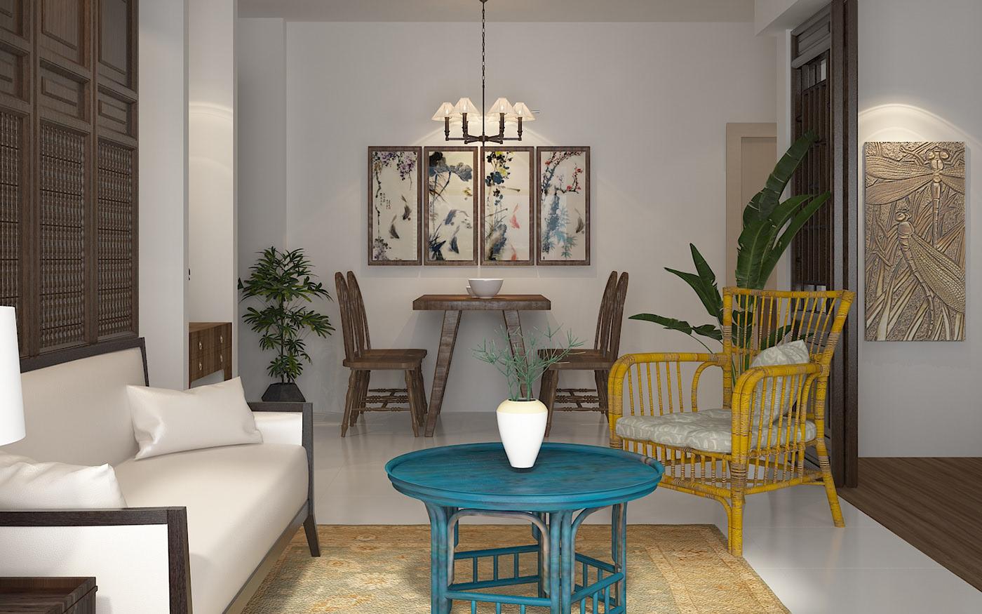 Bàn ăn nối liền phòng khách trong mẫu thiết kế nội thất chung cư tại Hải Phòng