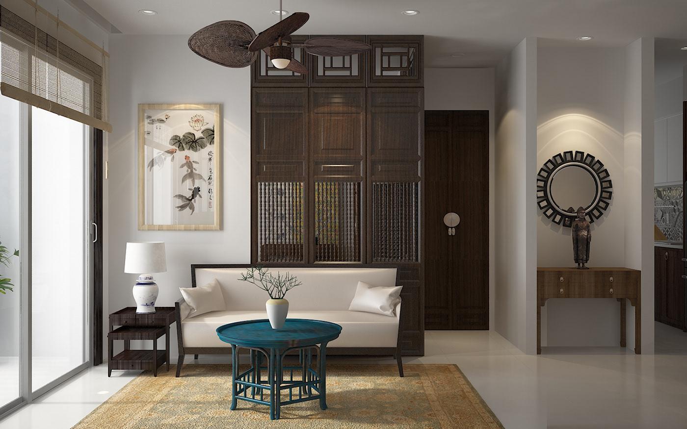 Thiết kế nội thất chung cư 90m2 tại Hải Phòng phong cách Indochine gần gũi, ấn tượng