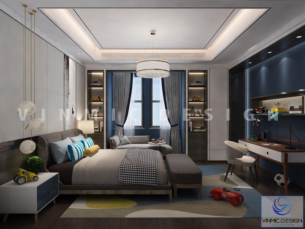 Thiết kế nội thất phòng ngủ cho bé đẹp cho mẫu thiết kế nhà phố 2 tầng tại Hải Phòng