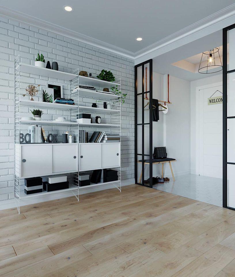Kệ trang trí ấn tượng cho mẫu thiết kế nội thất chung cư 90m2 tại Hải Phòng